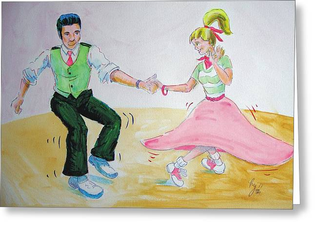 Jive Dancing Cartoon Greeting Card