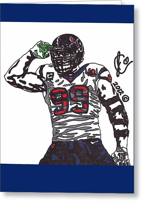 Jj Watt 1 Greeting Card by Jeremiah Colley