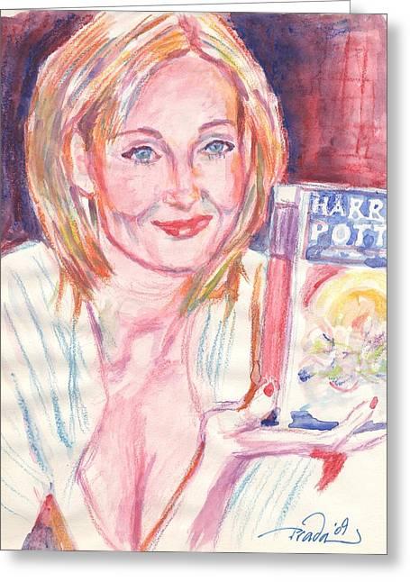 Jk Rowling Happy Greeting Card by Horacio Prada