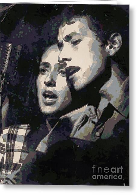 Joan Baez And Bob Dylan Greeting Card by Paulette B Wright