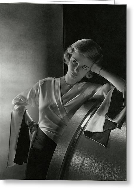 Joan Bennett Leaning On A Barrel Greeting Card by Cecil Beaton