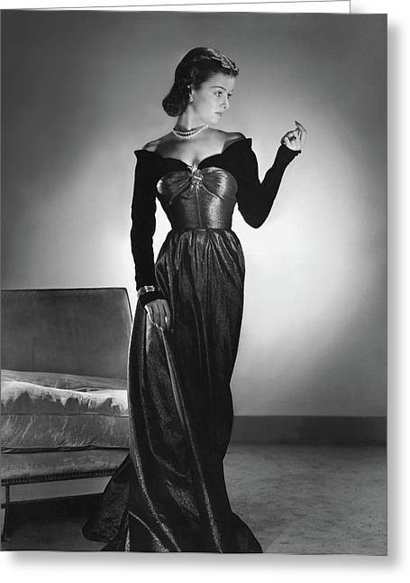 Joan Bennett Wearing A Velvet Dress Greeting Card by Horst P. Horst