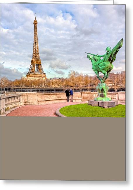Joan Of Arc And The Eiffel Tower Greeting Card by Mark E Tisdale