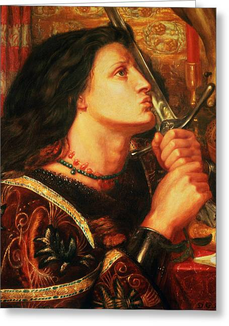 Joan Of Arc Kissing The Sword Greeting Card by Dante Gabriel Charles Rossetti