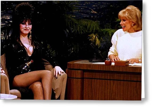Joan Rivers And Elvira Greeting Card by Brian Benjamin