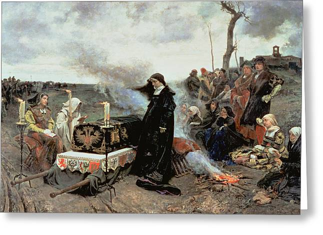 Joanna The Mad Accompanying The Coffin Of Philip The Handsome Greeting Card by Francisco Pradilla y Ortiz
