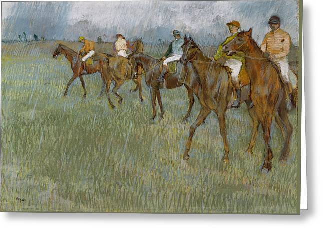 Jockeys In The Rain, 1886 Greeting Card by Edgar Degas