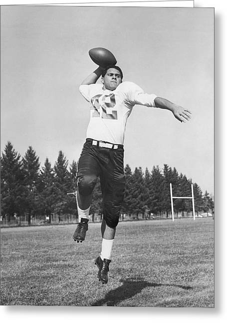 Joe Francis Throwing Football Greeting Card by Underwood Archives