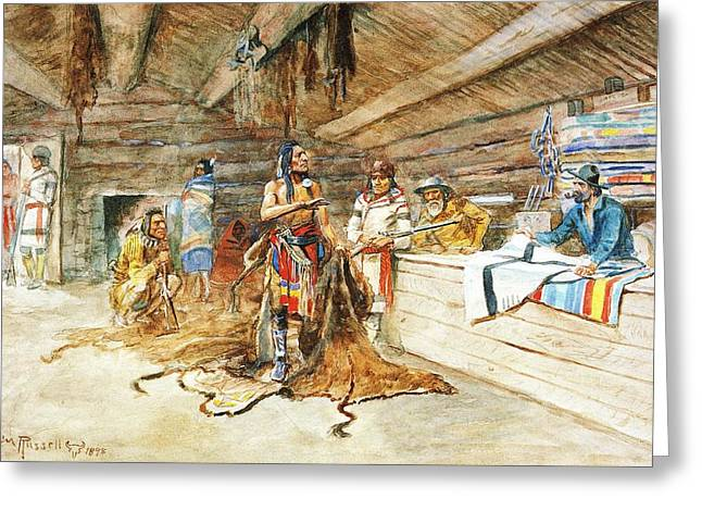 Joe Kipps Trading Camp Greeting Card by Charles Russell
