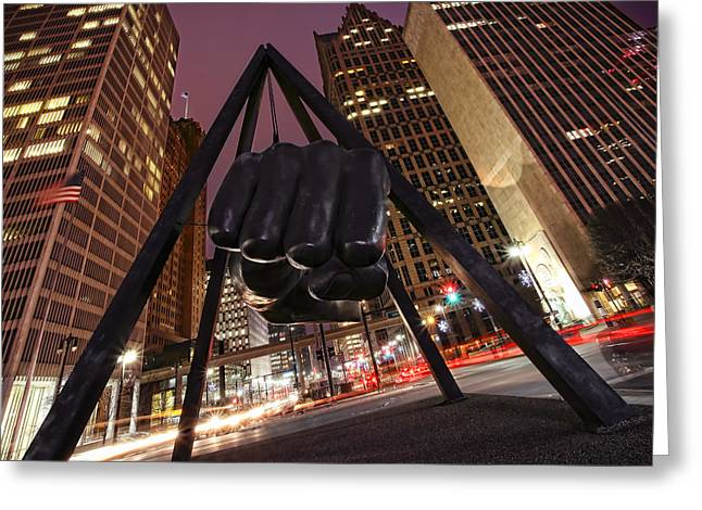 Joe Louis Fist Statue Detroit Michigan Night Time Shot Greeting Card by Gordon Dean II