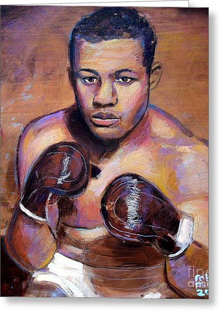 Greeting Card featuring the painting Joe Louis by Robert Phelps
