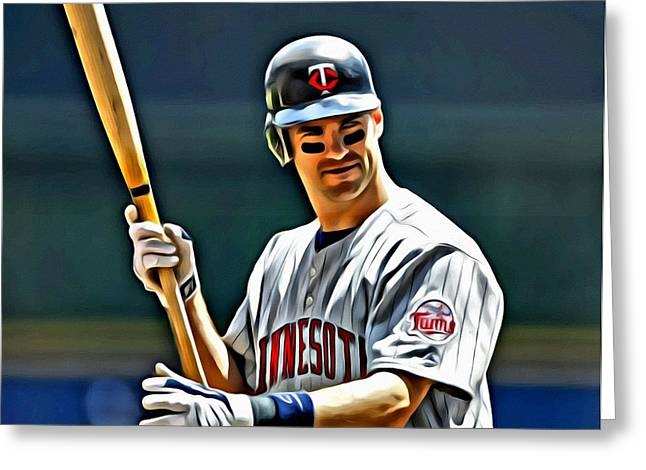 Joe Mauer Painting Greeting Card by Florian Rodarte
