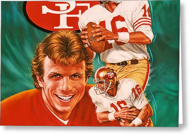 Joe Montana Greeting Card by Dick Bobnick