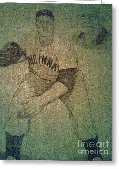 Greeting Card featuring the drawing Joe Nuxhall by Christy Saunders Church