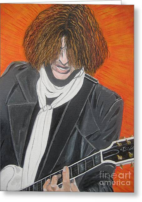 Joe Perry On Guitar Greeting Card by Jeepee Aero