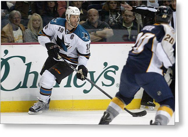 Greeting Card featuring the photograph Joe Thornton by Don Olea