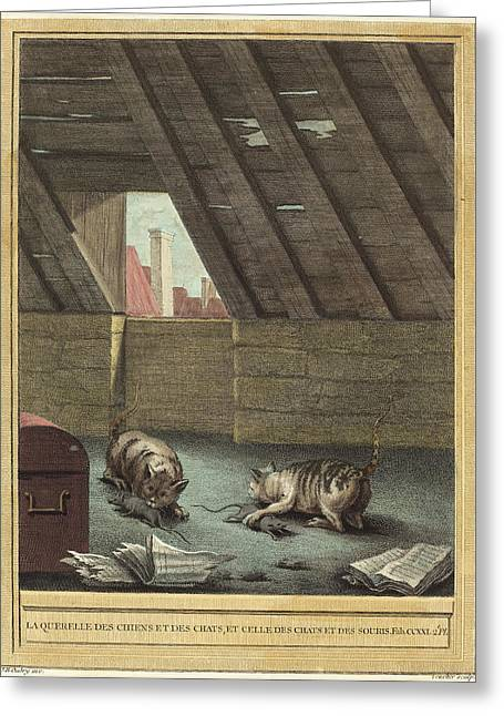 Johann Christoph Teucher After Jean-baptiste Oudry German Greeting Card by Quint Lox