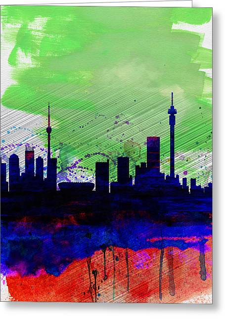 Johannesburg Watercolor Skyline Greeting Card