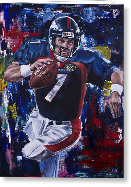 John Elway Greeting Card by Mark Courage