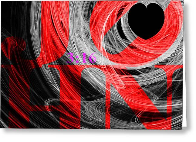 John 3 16 20130708 Fractal Heart V2b Greeting Card