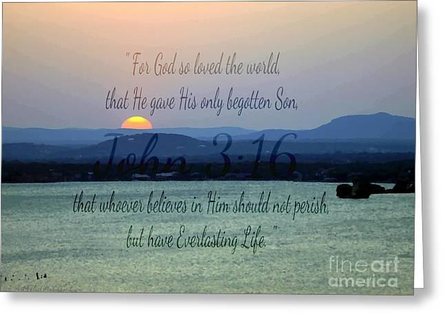 John 3 16 Lake Sunset Greeting Card by Sharon Soberon