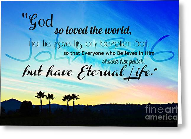 John 3 16 With Palm Trees  Greeting Card by Sharon Soberon