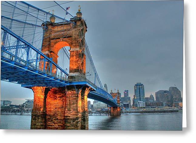John A Roebling Suspension Bridge Cincinnati Ohio Greeting Card