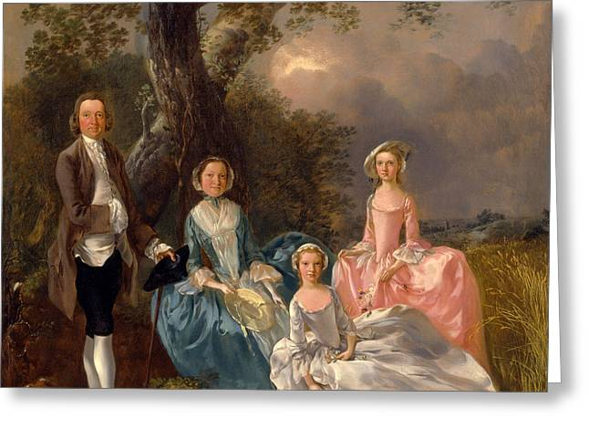 John And Ann Gravenor With Their Daughters Greeting Card by Thomas Gainsborough