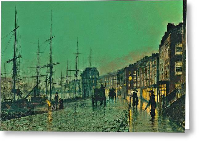 John Atkinson Grimshaw Shipping On The Clyde 1881 Greeting Card