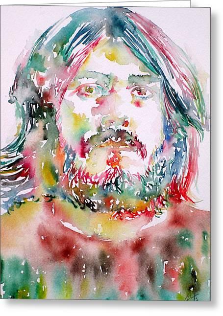 John Bonham Watercolor Portrait Greeting Card by Fabrizio Cassetta