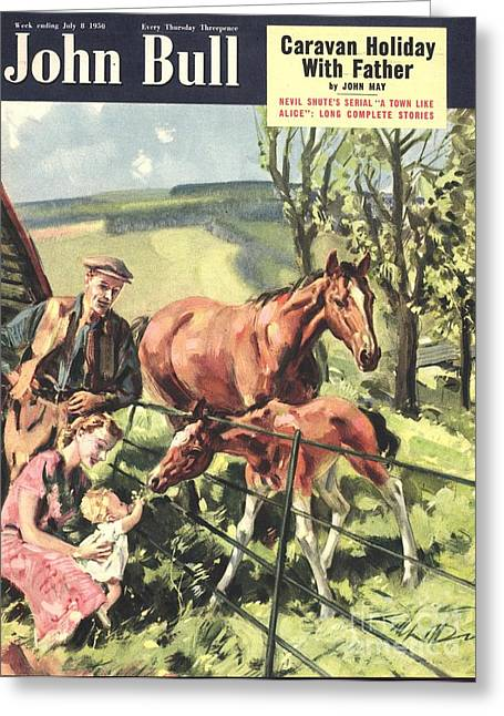 John Bull 1950 1950s Uk Horses Pets Greeting Card by The Advertising Archives