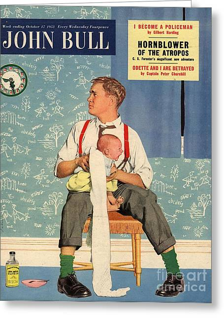 John Bull 1950s Uk Babies Fathers Greeting Card by The Advertising Archives