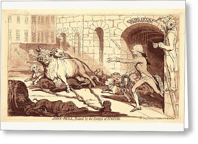 John Bull, Baited By The Dogs Of Excise, En Sanguine Greeting Card