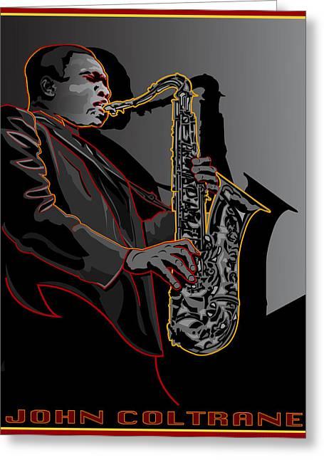 John Coltrane Jazz Saxophone Legend Greeting Card by Larry Butterworth
