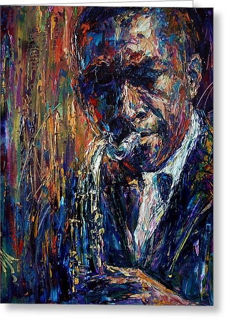 John Coltrane Greeting Card by Natasha  Mylius