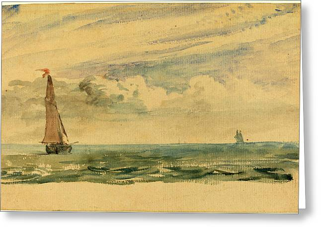 John Constable, British 1776-1837, A Seascape With Two Sail Greeting Card by Litz Collection