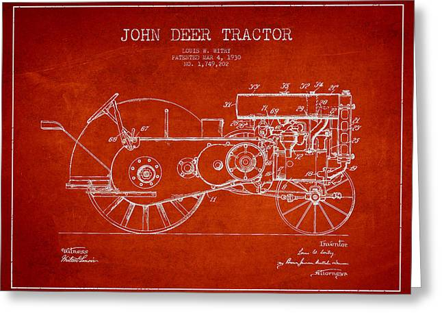 John Deer Tractor Patent Drawing From 1930 - Red Greeting Card by Aged Pixel