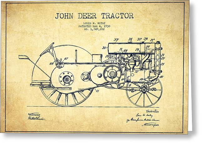John Deer Tractor Patent Drawing From 1930 - Vintage Greeting Card
