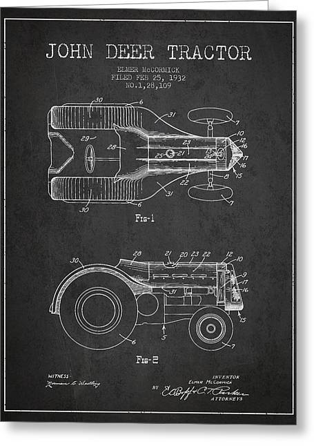 John Deer Tractor Patent Drawing From 1932 - Dark Greeting Card by Aged Pixel