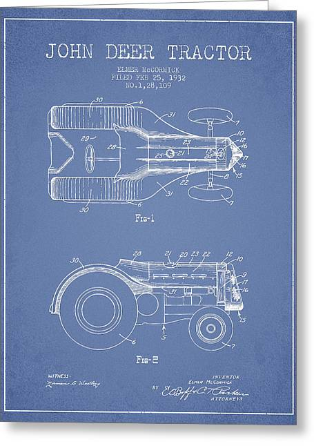 John Deer Tractor Patent Drawing From 1932 - Light Blue Greeting Card by Aged Pixel