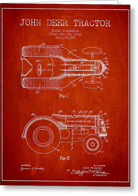 John Deer Tractor Patent Drawing From 1932 - Red Greeting Card by Aged Pixel