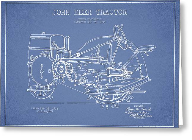 John Deer Tractor Patent Drawing From 1933 - Light Blue Greeting Card by Aged Pixel