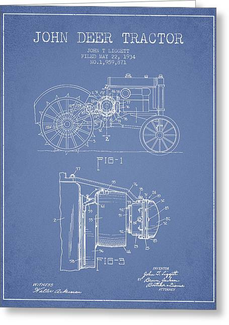 John Deer Tractor Patent Drawing From 1934 - Light Blue Greeting Card by Aged Pixel