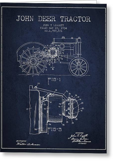 John Deer Tractor Patent Drawing From 1934 - Navy Blue Greeting Card by Aged Pixel