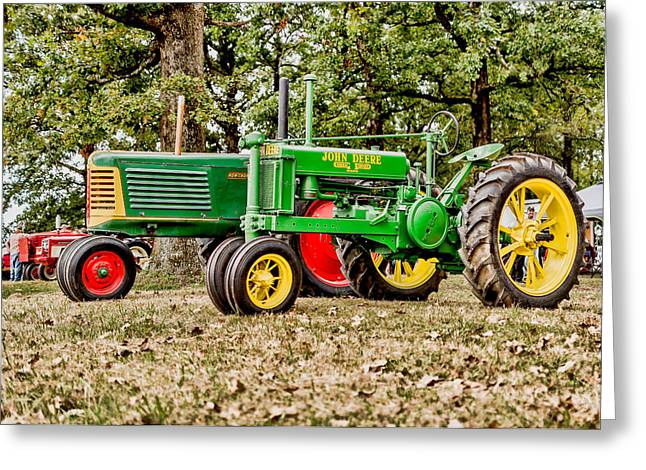 John Deere 1935 General Purpose Tractor With Oliver Row Crop 77 Greeting Card by Jon Woodhams