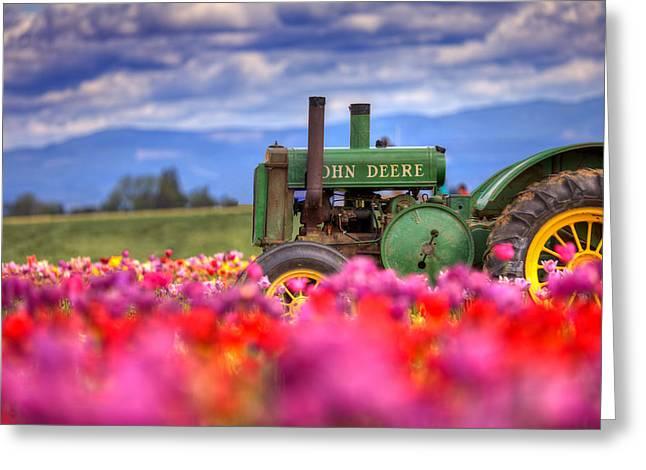 John Deere In The Tulips Greeting Card