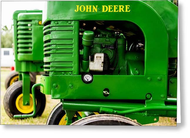 John Deere Model L With Model G Behind Greeting Card by Jon Woodhams