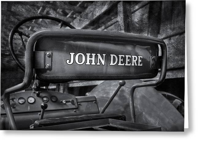 John Deere Tractor Bw Greeting Card by Susan Candelario
