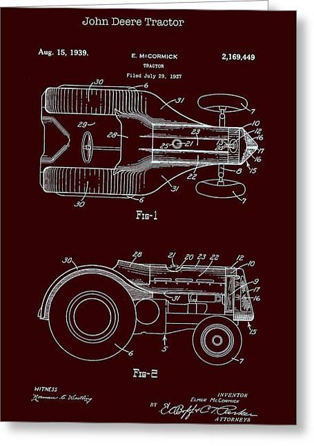 John Deere Tractor Patent 1939 Greeting Card