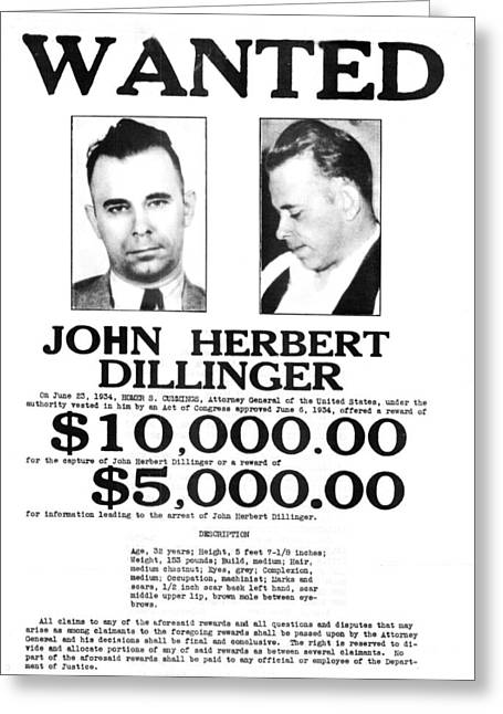 John Dillinger Wanted Poster, 1934 Greeting Card by Science Source